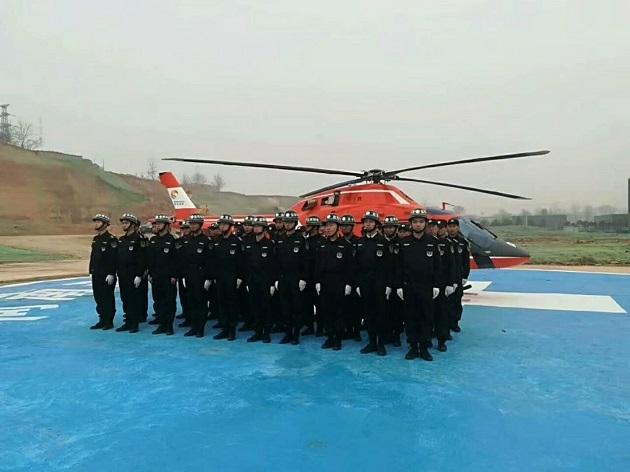 蓝盾保安为空中救援保驾护航